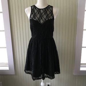 Forever 21 Black Dress with Floral Lace Overlay